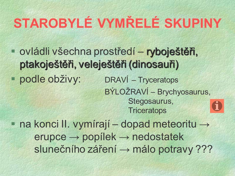 STAROBYLÉ VYMŘELÉ SKUPINY §o§ovládli všechna prostředí – r rr ryboještěři, ptakoještěři, veleještěři (dinosauři) §p§podle obživy: DRAVÍ – Tryceratops BÝLOŽRAVÍ – Brychyosaurus, Stegosaurus, Triceratops §n§na konci II.