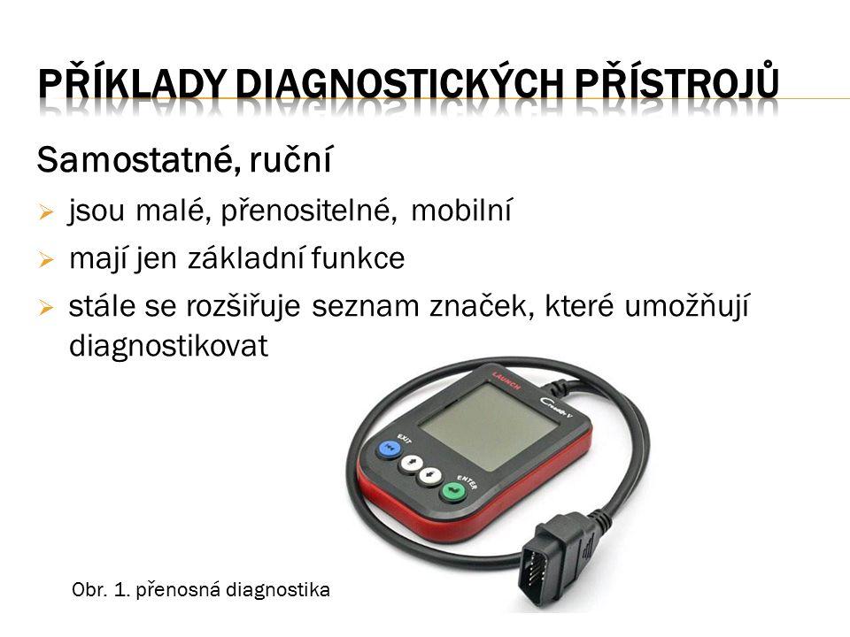Samostatné, ruční  jsou malé, přenositelné, mobilní  mají jen základní funkce  stále se rozšiřuje seznam značek, které umožňují diagnostikovat Obr.
