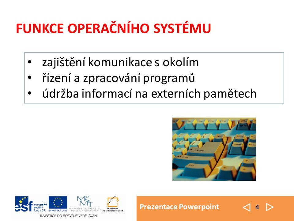 Prezentace Powerpoint 4 FUNKCE OPERAČNÍHO SYSTÉMU zajištění komunikace s okolím řízení a zpracování programů údržba informací na externích pamětech