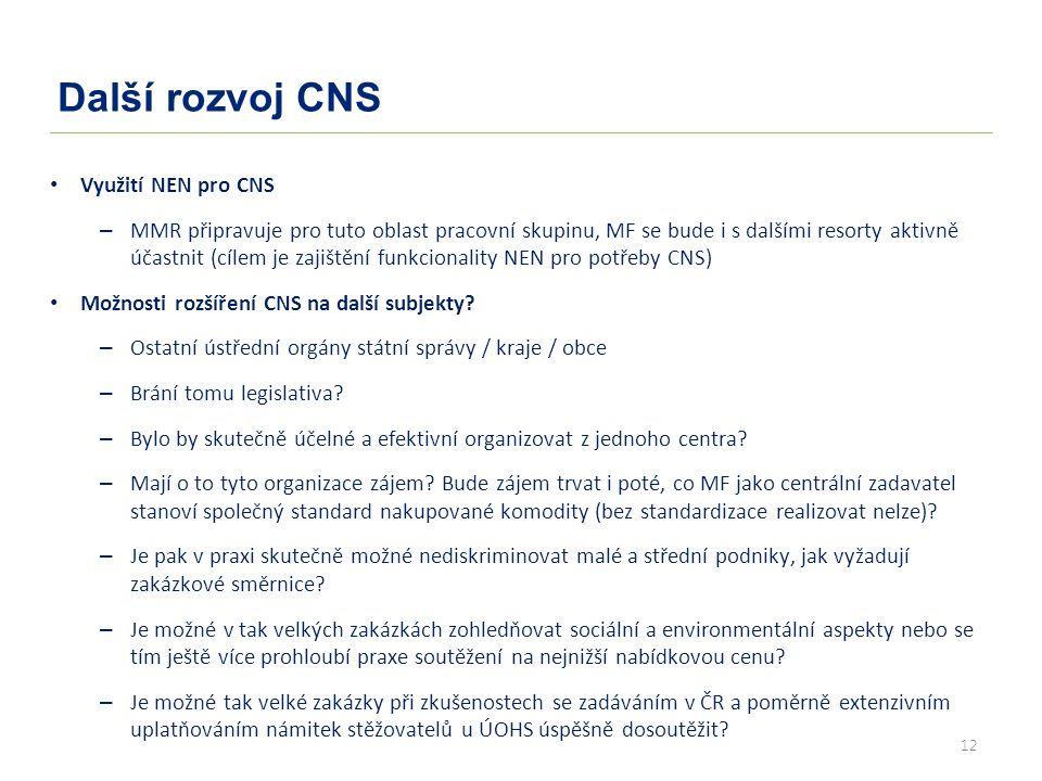 12 Další rozvoj CNS Využití NEN pro CNS – MMR připravuje pro tuto oblast pracovní skupinu, MF se bude i s dalšími resorty aktivně účastnit (cílem je zajištění funkcionality NEN pro potřeby CNS) Možnosti rozšíření CNS na další subjekty.