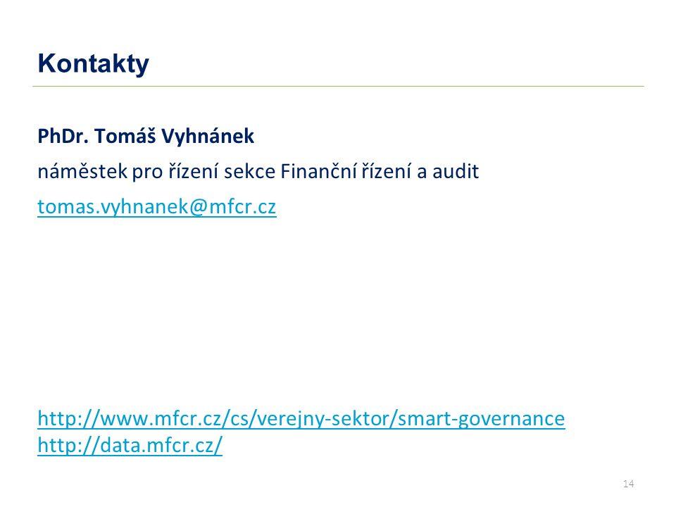 14 Kontakty PhDr. Tomáš Vyhnánek náměstek pro řízení sekce Finanční řízení a audit tomas.vyhnanek@mfcr.cz http://www.mfcr.cz/cs/verejny-sektor/smart-g