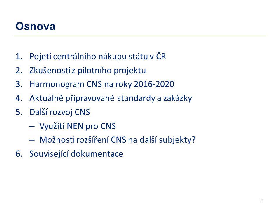2 Osnova 1.Pojetí centrálního nákupu státu v ČR 2.Zkušenosti z pilotního projektu 3.Harmonogram CNS na roky 2016-2020 4.Aktuálně připravované standardy a zakázky 5.Další rozvoj CNS – Využití NEN pro CNS – Možnosti rozšíření CNS na další subjekty.