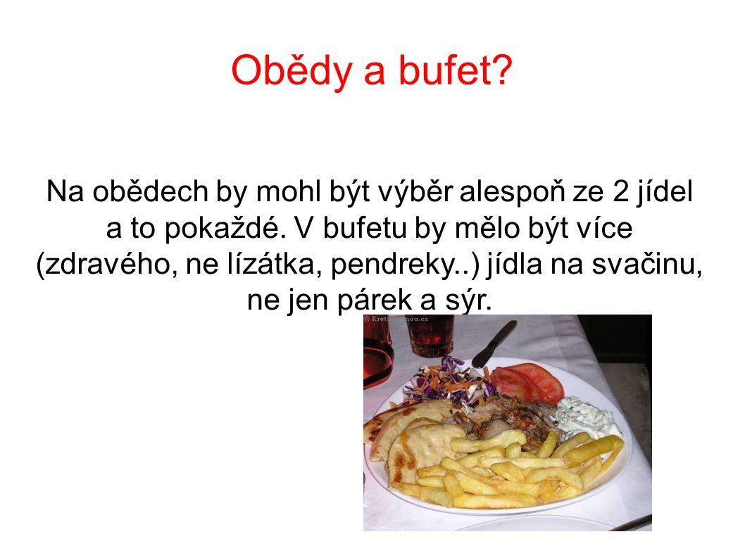Obědy a bufet? Na obědech by mohl být výběr alespoň ze 2 jídel a to pokaždé. V bufetu by mělo být více (zdravého, ne lízátka, pendreky..) jídla na sva