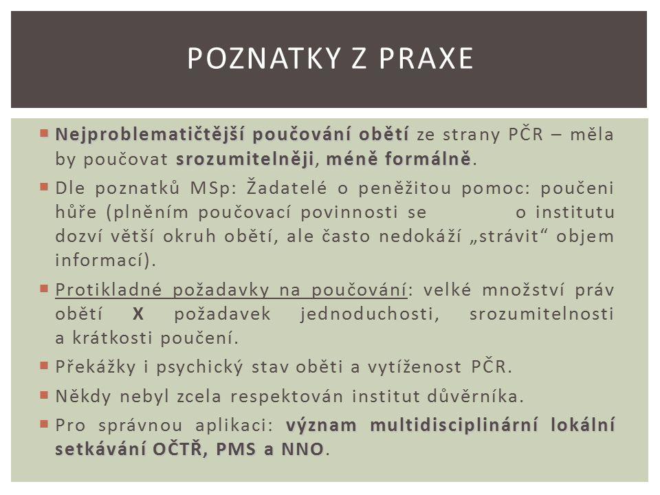 Nejproblematičtější poučování obětí srozumitelnějiméně formálně  Nejproblematičtější poučování obětí ze strany PČR – měla by poučovat srozumitelněji, méně formálně.