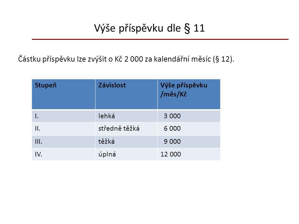 Výše příspěvku dle § 11 Částku příspěvku lze zvýšit o Kč 2 000 za kalendářní měsíc (§ 12).