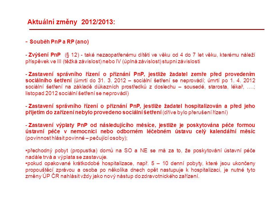 Aktuální změny 2012/2013: - Souběh PnP a RP (ano) - Zvýšení PnP (§ 12) - také nezaopatřenému dítěti ve věku od 4 do 7 let věku, kterému náleží příspěvek ve III (těžká závislost) nebo IV (úplná závislost) stupni závislosti - Zastavení správního řízení o přiznání PnP, jestliže žadatel zemře před provedením sociálního šetření (úmrtí do 31.