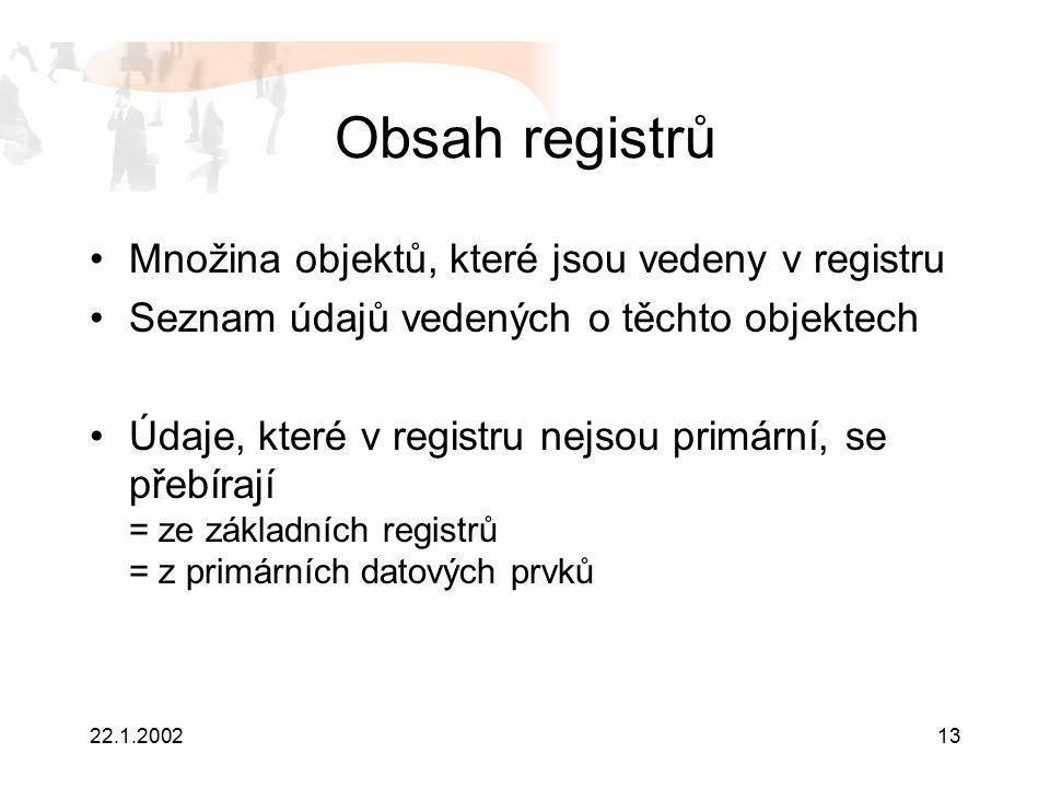 22.1.200213 Obsah registrů Množina objektů, které jsou vedeny v registru Seznam údajů vedených o těchto objektech Údaje, které v registru nejsou primární, se přebírají = ze základních registrů = z primárních datových prvků
