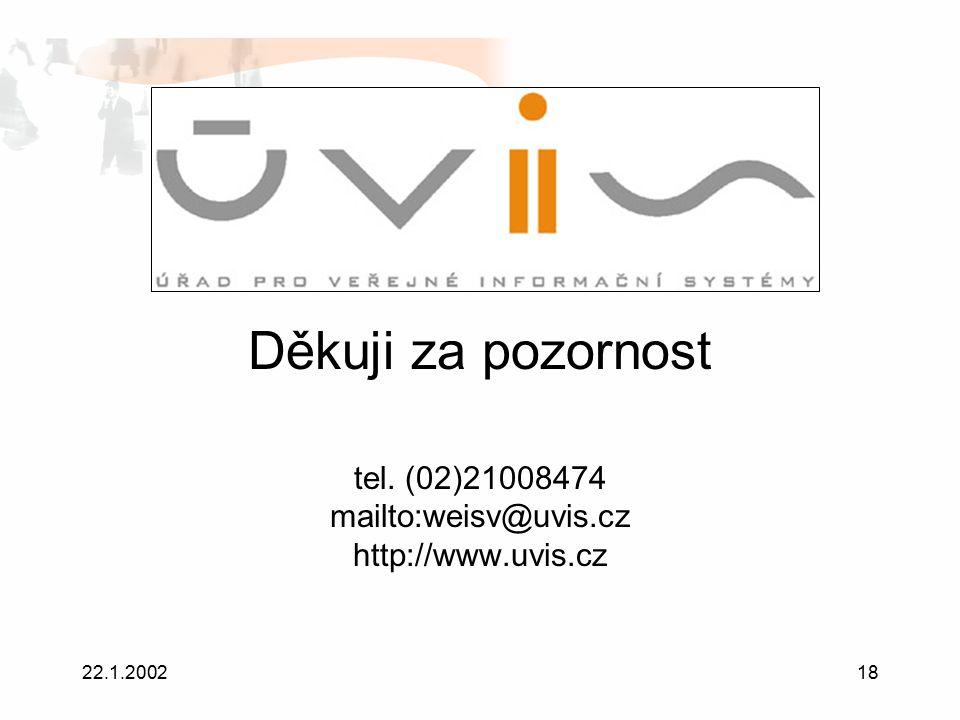 22.1.200218 Děkuji za pozornost tel. (02)21008474 mailto:weisv@uvis.cz http://www.uvis.cz