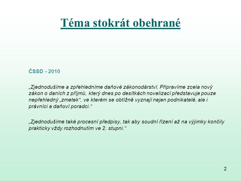 """Téma stokrát obehrané TOP 09 - 2010 """"Naší prioritou je stabilizace a srozumitelnost právního řádu."""