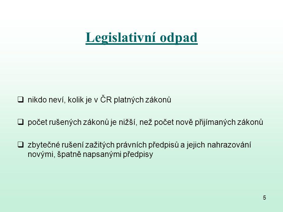 Legislativní odpad  právní úprava téže problematiky v několika zákonech a jejich novelizacích  nepřímé novelizace tzv.