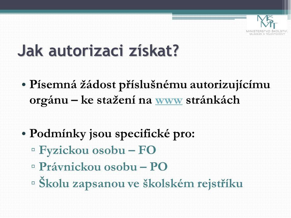 Jak autorizaci získat? Písemná žádost příslušnému autorizujícímu orgánu – ke stažení na www stránkáchwww Podmínky jsou specifické pro: ▫ Fyzickou osob