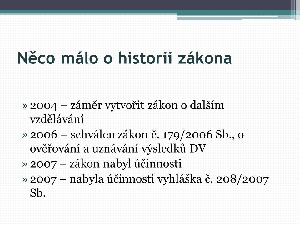 Něco málo o historii zákona »2004 – záměr vytvořit zákon o dalším vzdělávání »2006 – schválen zákon č. 179/2006 Sb., o ověřování a uznávání výsledků D