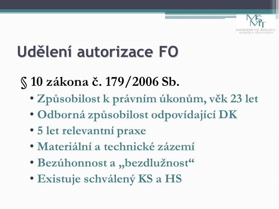Udělení autorizace FO § 10 zákona č. 179/2006 Sb. Způsobilost k právním úkonům, věk 23 let Odborná způsobilost odpovídající DK 5 let relevantní praxe