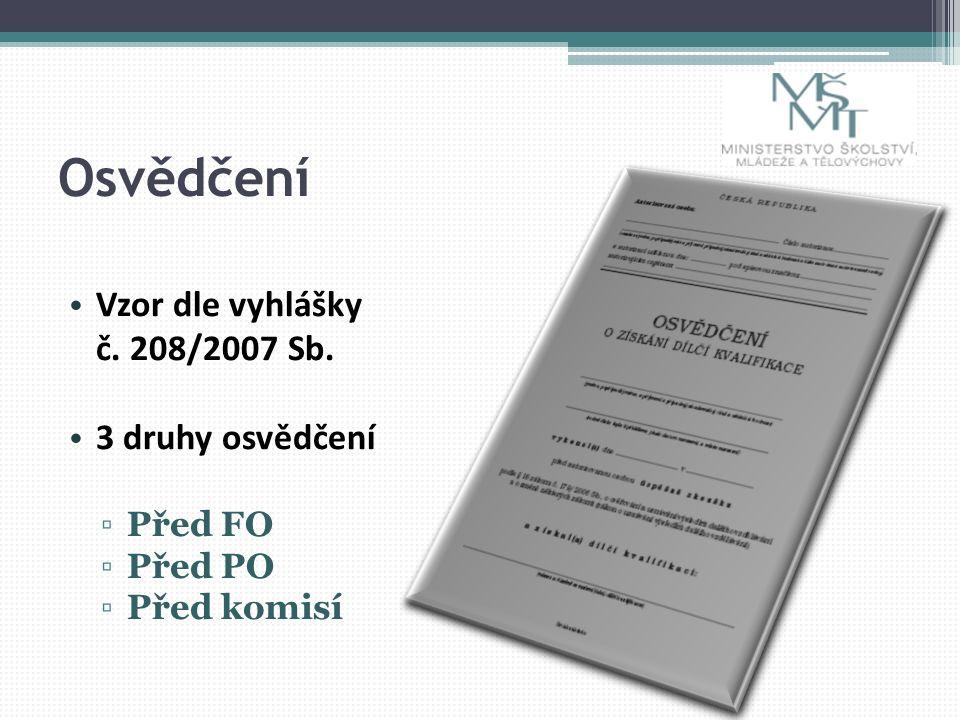 Osvědčení Vzor dle vyhlášky č. 208/2007 Sb. 3 druhy osvědčení ▫Před FO ▫Před PO ▫Před komisí