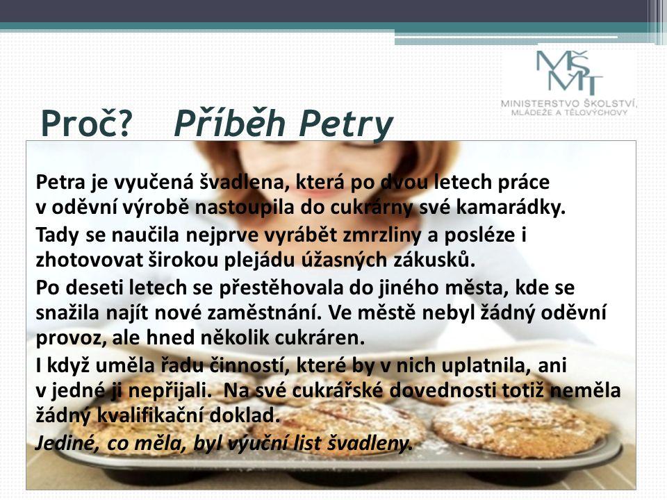 Proč Příběh Petry Petra je vyučená švadlena, která po dvou letech práce v oděvní výrobě nastoupila do cukrárny své kamarádky.