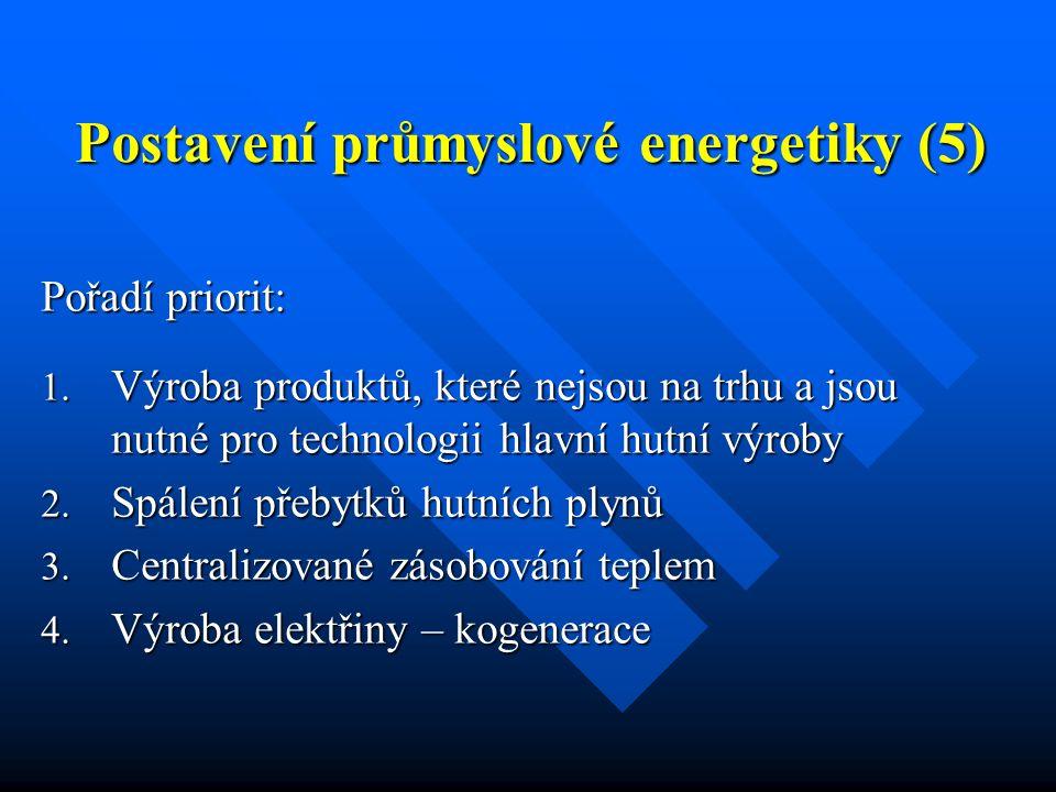 Postavení průmyslové energetiky (5) Pořadí priorit: 1. Výroba produktů, které nejsou na trhu a jsou nutné pro technologii hlavní hutní výroby 2. Spále