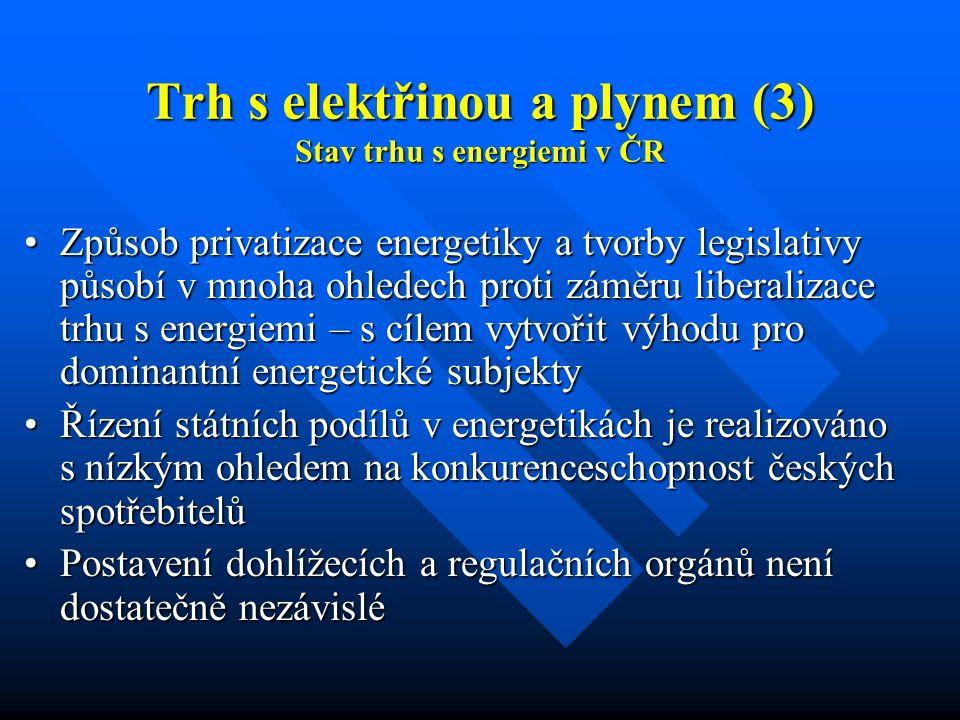 Trh s elektřinou a plynem (3) Stav trhu s energiemi v ČR Způsob privatizace energetiky a tvorby legislativy působí v mnoha ohledech proti záměru liberalizace trhu s energiemi – s cílem vytvořit výhodu pro dominantní energetické subjektyZpůsob privatizace energetiky a tvorby legislativy působí v mnoha ohledech proti záměru liberalizace trhu s energiemi – s cílem vytvořit výhodu pro dominantní energetické subjekty Řízení státních podílů v energetikách je realizováno s nízkým ohledem na konkurenceschopnost českých spotřebitelůŘízení státních podílů v energetikách je realizováno s nízkým ohledem na konkurenceschopnost českých spotřebitelů Postavení dohlížecích a regulačních orgánů není dostatečně nezávisléPostavení dohlížecích a regulačních orgánů není dostatečně nezávislé