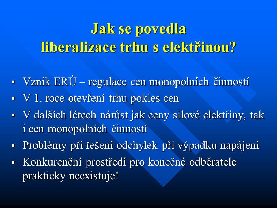 Jak se povedla liberalizace trhu s elektřinou?  Vznik ERÚ – regulace cen monopolních činností  V 1. roce otevření trhu pokles cen  V dalších létech