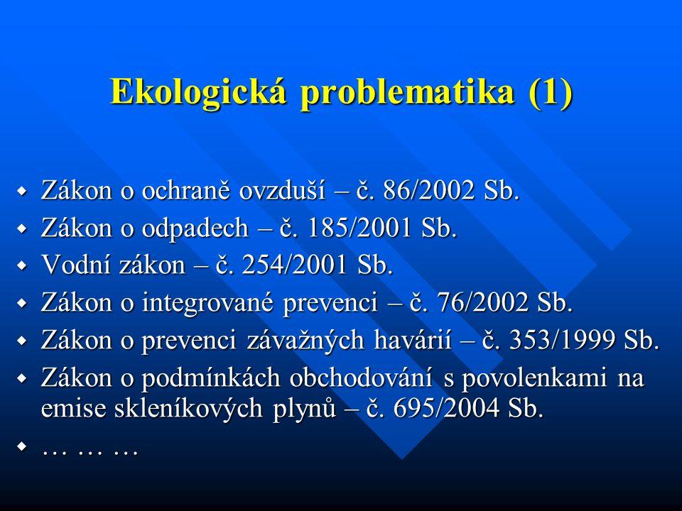 Ekologická problematika (1)  Zákon o ochraně ovzduší – č. 86/2002 Sb.  Zákon o odpadech – č. 185/2001 Sb.  Vodní zákon – č. 254/2001 Sb.  Zákon o