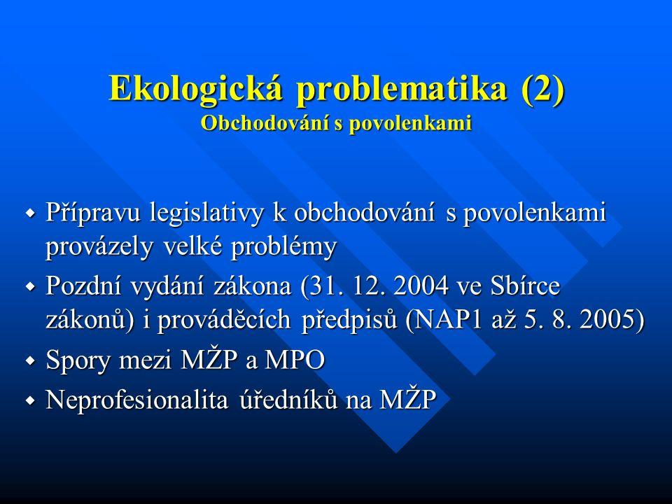 Ekologická problematika (2) Obchodování s povolenkami  Přípravu legislativy k obchodování s povolenkami provázely velké problémy  Pozdní vydání zákona (31.
