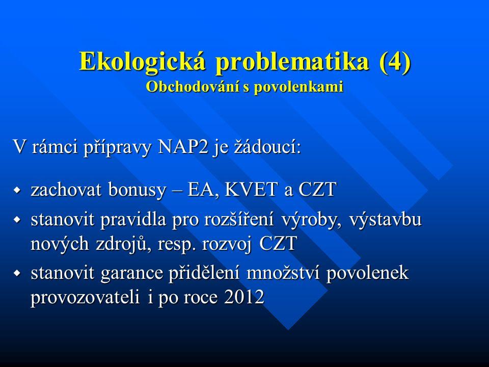 Ekologická problematika (4) Obchodování s povolenkami V rámci přípravy NAP2 je žádoucí:  zachovat bonusy – EA, KVET a CZT  stanovit pravidla pro rozšíření výroby, výstavbu nových zdrojů, resp.