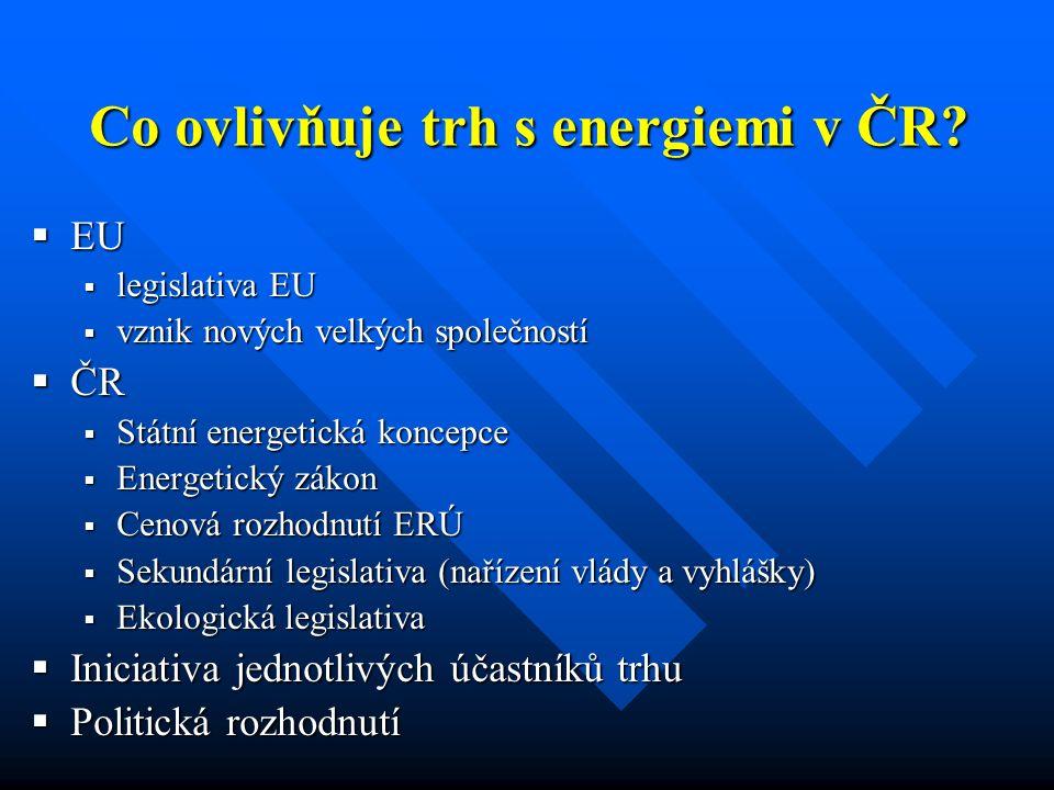  EU  legislativa EU  vznik nových velkých společností  ČR  Státní energetická koncepce  Energetický zákon  Cenová rozhodnutí ERÚ  Sekundární legislativa (nařízení vlády a vyhlášky)  Ekologická legislativa  Iniciativa jednotlivých účastníků trhu  Politická rozhodnutí Co ovlivňuje trh s energiemi v ČR