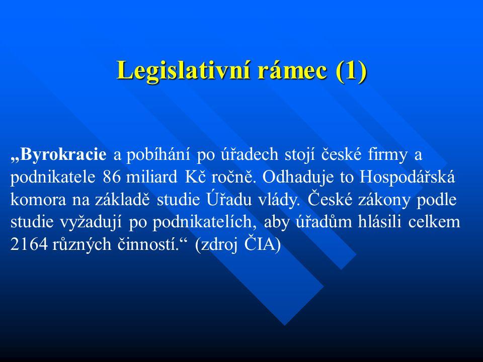 """Legislativní rámec (1) """"Byrokracie a pobíhání po úřadech stojí české firmy a podnikatele 86 miliard Kč ročně."""