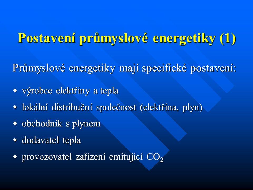 Postavení průmyslové energetiky (1) Průmyslové energetiky mají specifické postavení:  výrobce elektřiny a tepla  lokální distribuční společnost (elektřina, plyn)  obchodník s plynem  dodavatel tepla  provozovatel zařízení emitující CO 2