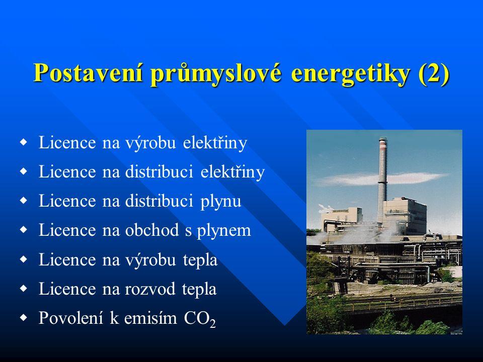 Postavení průmyslové energetiky (2)  Licence na výrobu elektřiny  Licence na distribuci elektřiny  Licence na distribuci plynu  Licence na obchod s plynem  Licence na výrobu tepla  Licence na rozvod tepla  Povolení k emisím CO 2