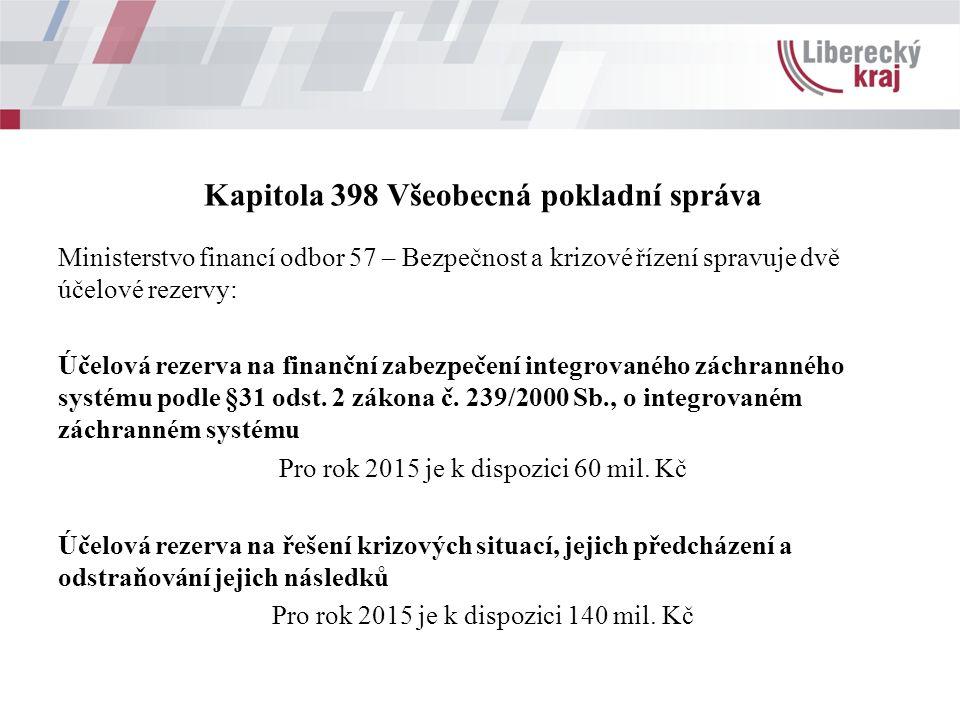 Kapitola 398 Všeobecná pokladní správa Ministerstvo financí odbor 57 – Bezpečnost a krizové řízení spravuje dvě účelové rezervy: Účelová rezerva na finanční zabezpečení integrovaného záchranného systému podle §31 odst.