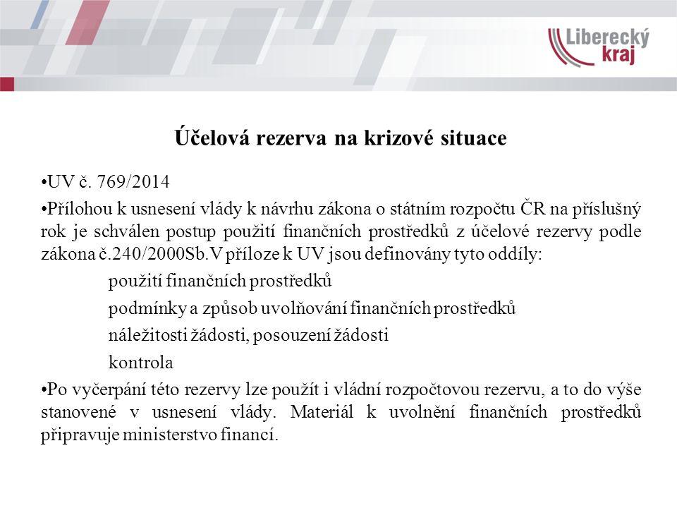 Účelová rezerva na krizové situace UV č.