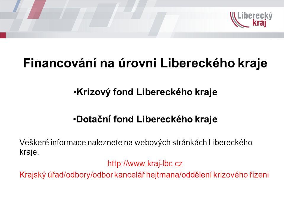 Financování na úrovni Libereckého kraje Krizový fond Libereckého kraje Dotační fond Libereckého kraje Veškeré informace naleznete na webových stránkách Libereckého kraje.