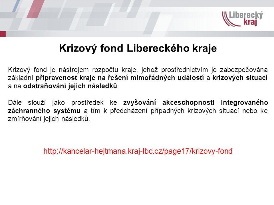Krizový fond Libereckého kraje Krizový fond je nástrojem rozpočtu kraje, jehož prostřednictvím je zabezpečována základní připravenost kraje na řešení mimořádných událostí a krizových situací a na odstraňování jejich následků.
