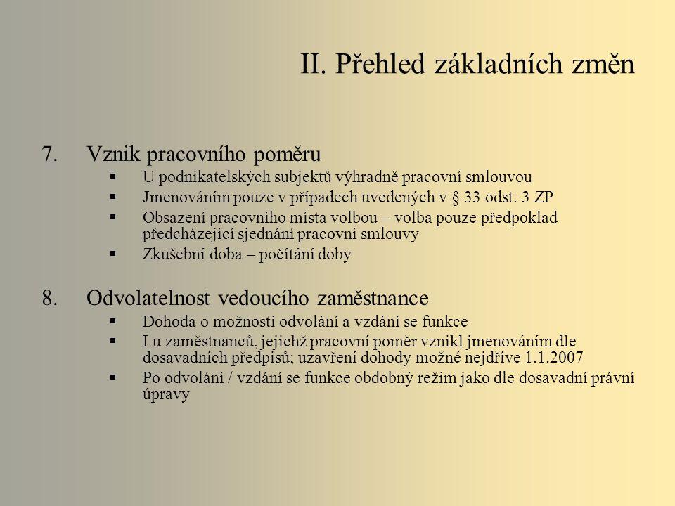 9.Rozvázání pracovního poměru  Dohodou – písemná forma pod sankcí neplatnosti  Výpověď:  Výpovědní doba  Výpovědní důvody  Zrušena nabídková povinnost zaměstnavatele i povinnost zajištění nového zaměstnání či povinnost spolupůsobení zaměstnavatele  Okamžité zrušení  Lhůta 2 měsíce  Zrušení ze strany zaměstnance pro nevyplacení mzdy – odstupné  Smrt zaměstnavatele – fyzické osoby  Povinnost oznámení skončení pracovního poměru osob se zdravotním postižením úřadu práce  Odstupné  Neplatné rozvázání – zrušeno moderační právo soudu (náhrada mzdy) II.