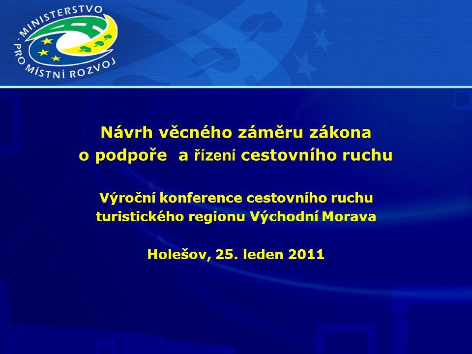 Návrh věcného záměru zákona o podpoře a řízení cestovního ruchu Výroční konference cestovního ruchu turistického regionu Východní Morava Holešov, 25.