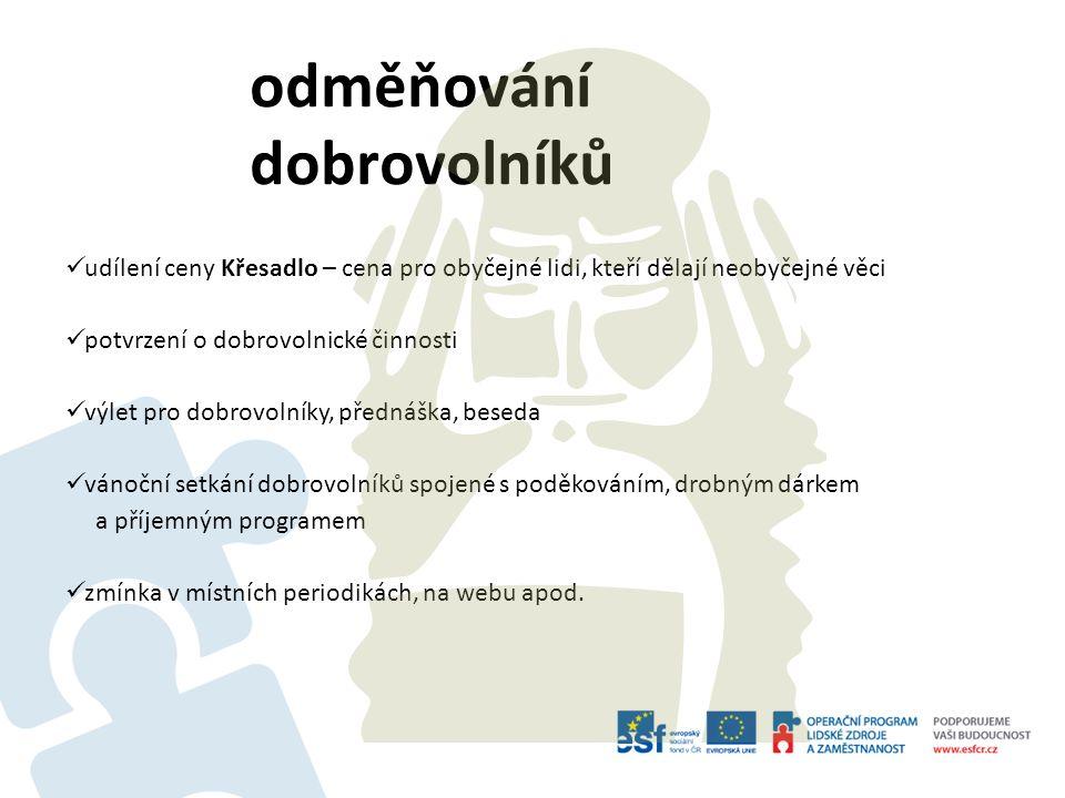 odměňování dobrovolníků udílení ceny Křesadlo – cena pro obyčejné lidi, kteří dělají neobyčejné věci potvrzení o dobrovolnické činnosti výlet pro dobr