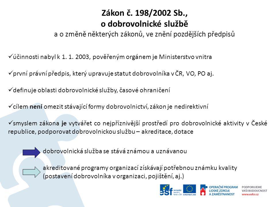 účinnosti nabyl k 1. 1. 2003, pověřeným orgánem je Ministerstvo vnitra první právní předpis, který upravuje statut dobrovolníka v ČR, VO, PO aj. defin