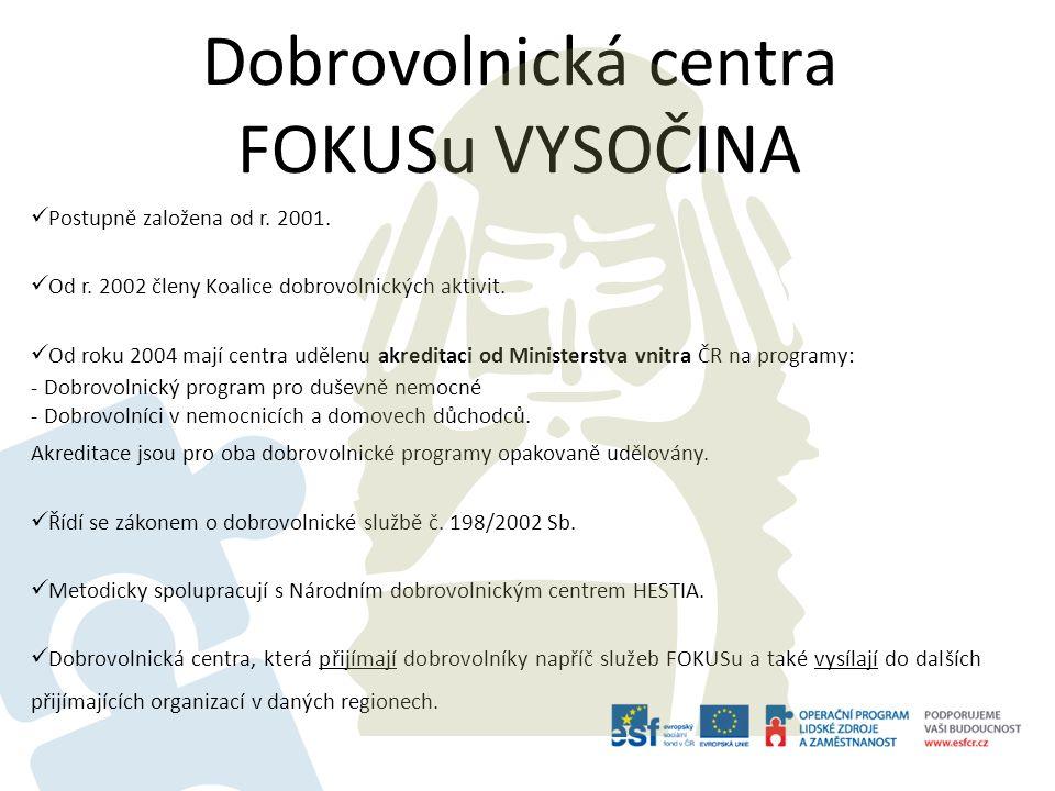 Dobrovolnická centra FOKUSu VYSOČINA Postupně založena od r. 2001. Od r. 2002 členy Koalice dobrovolnických aktivit. Od roku 2004 mají centra udělenu