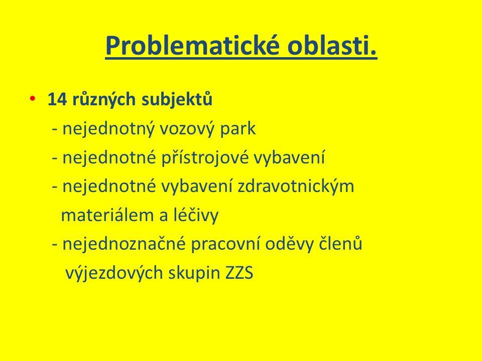 Problematické oblasti. 14 různých subjektů - nejednotný vozový park - nejednotné přístrojové vybavení - nejednotné vybavení zdravotnickým materiálem a
