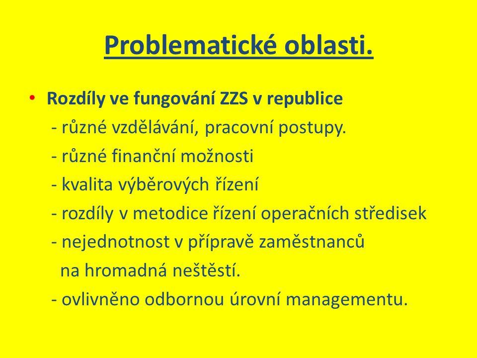 Problematické oblasti. Rozdíly ve fungování ZZS v republice - různé vzdělávání, pracovní postupy. - různé finanční možnosti - kvalita výběrových řízen