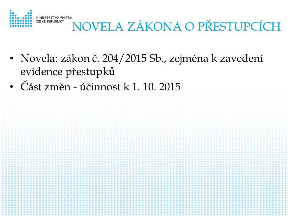 NOVELA ZÁKONA O PŘESTUPCÍCH Novela: zákon č.