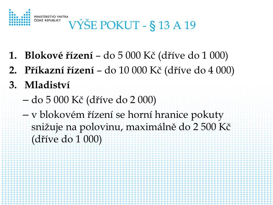 VÝŠE POKUT - § 13 A 19 1. Blokové řízení – do 5 000 Kč (dříve do 1 000) 2.