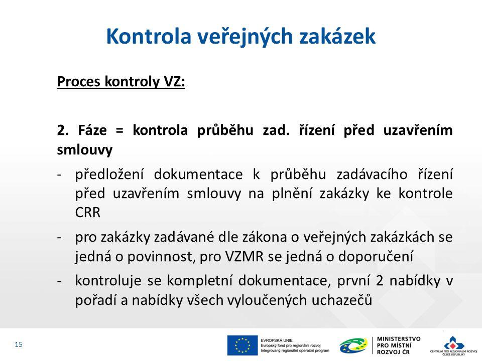 Proces kontroly VZ: 2. Fáze = kontrola průběhu zad. řízení před uzavřením smlouvy -předložení dokumentace k průběhu zadávacího řízení před uzavřením s