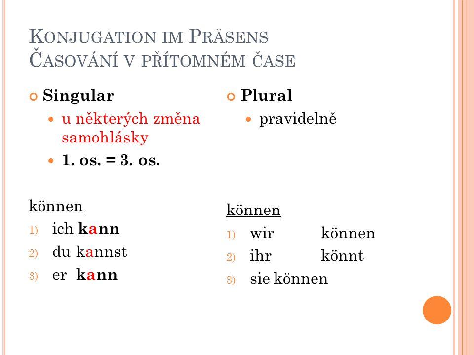 K ONJUGATION IM P RÄSENS Č ASOVÁNÍ V PŘÍTOMNÉM ČASE Singular u některých změna samohlásky 1. os. = 3. os. können 1) ich kann 2) du kannst 3) er kann P