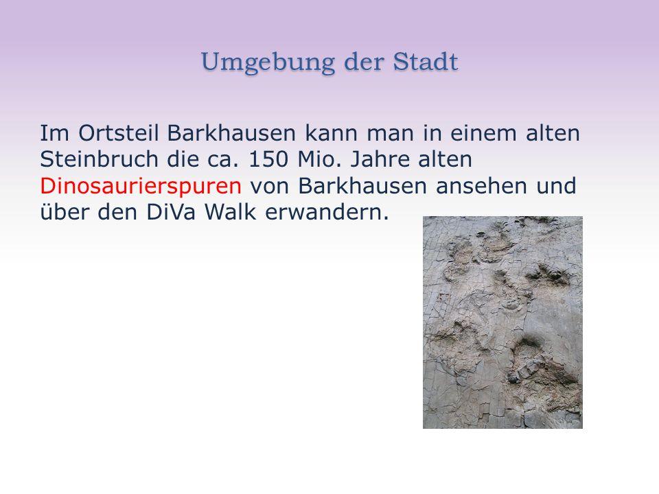 Umgebung der Stadt Im Ortsteil Barkhausen kann man in einem alten Steinbruch die ca.