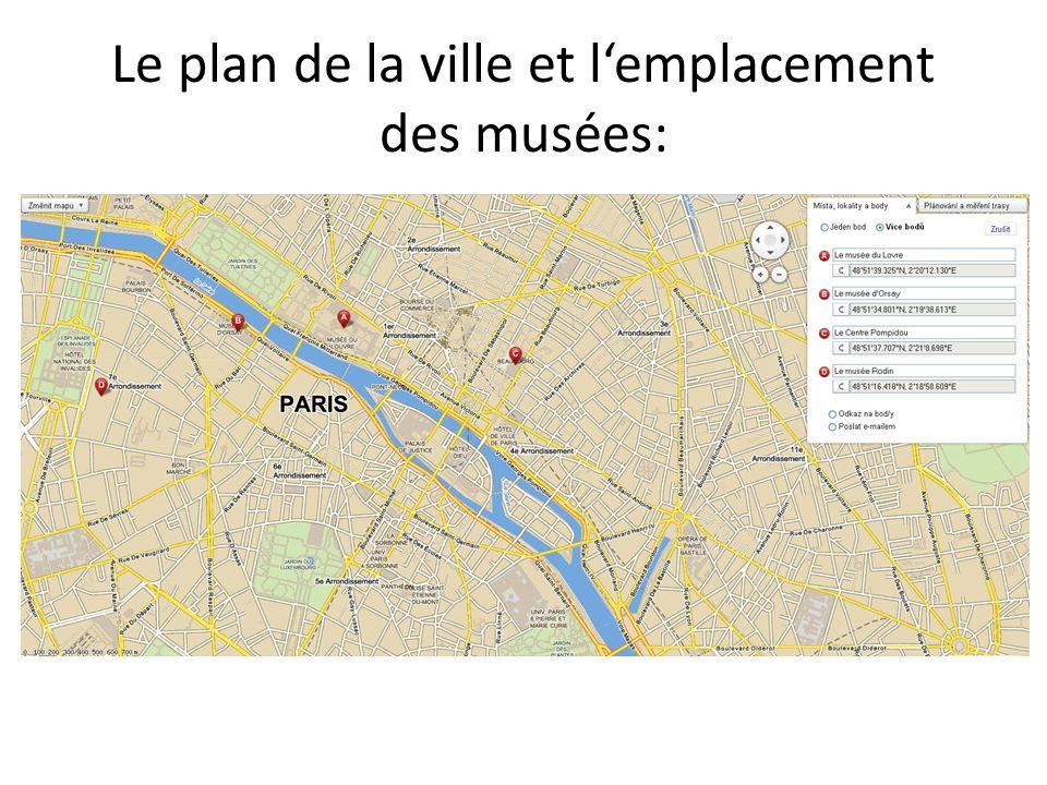 Le plan de la ville et l'emplacement des musées: