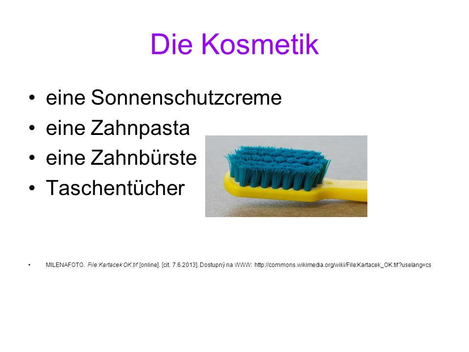 Die Kosmetik eine Sonnenschutzcreme eine Zahnpasta eine Zahnbürste Taschentücher MILENAFOTO. File:Kartacek OK.tif [online]. [cit. 7.6.2013]. Dostupný