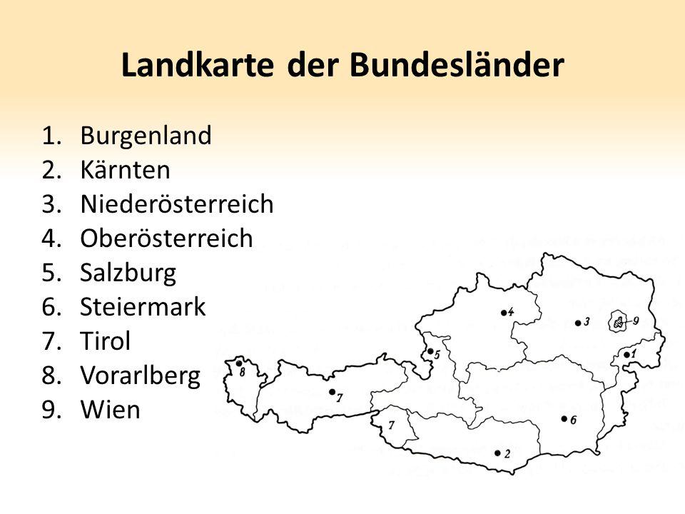 Landkarte der Bundesländer 1.Burgenland 2.Kärnten 3.Niederösterreich 4.Oberösterreich 5.Salzburg 6.Steiermark 7.Tirol 8.Vorarlberg 9.Wien
