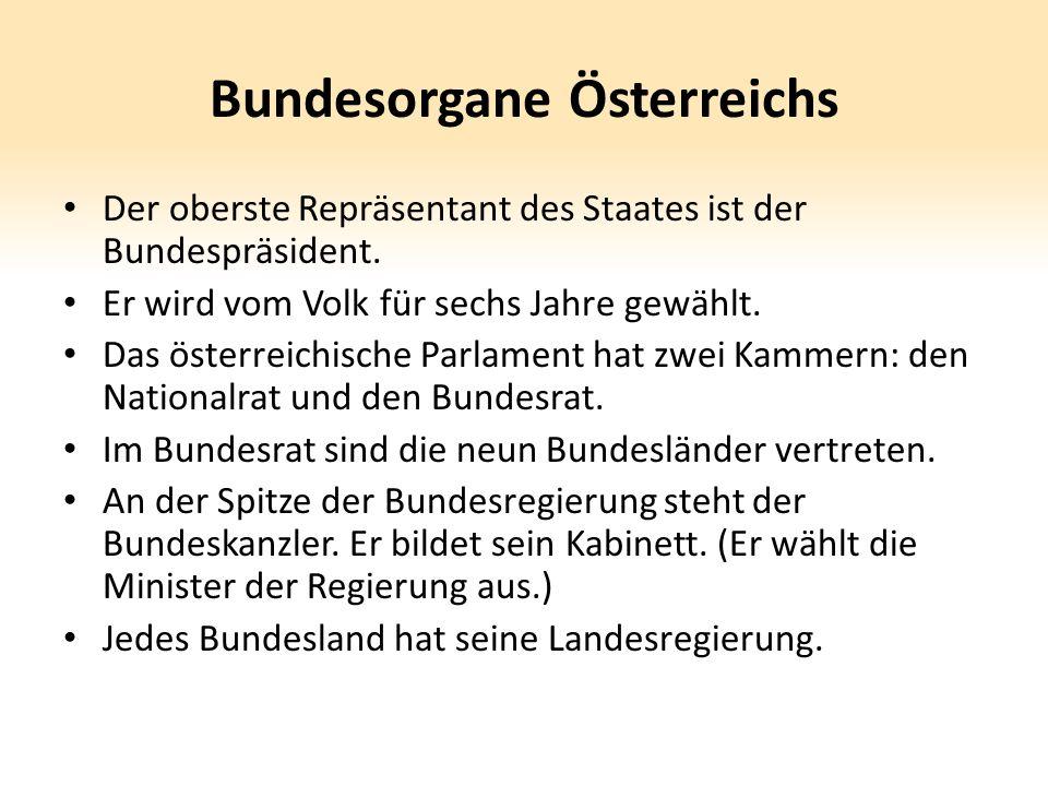 Bundesorgane Österreichs Der oberste Repräsentant des Staates ist der Bundespräsident. Er wird vom Volk für sechs Jahre gewählt. Das österreichische P