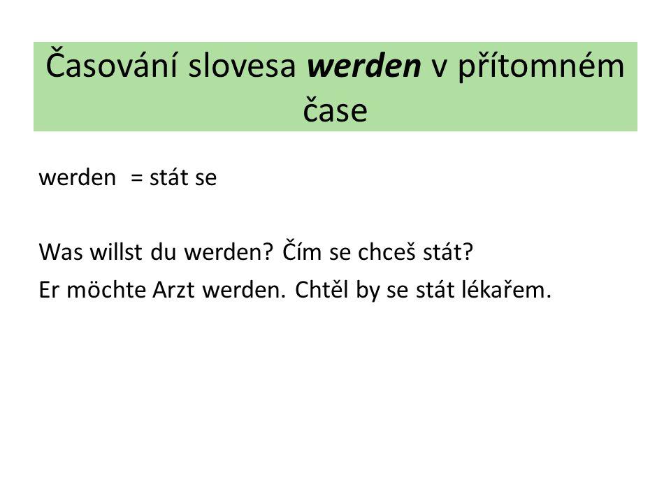 Časování slovesa werden v přítomném čase werden = stát se Was willst du werden.